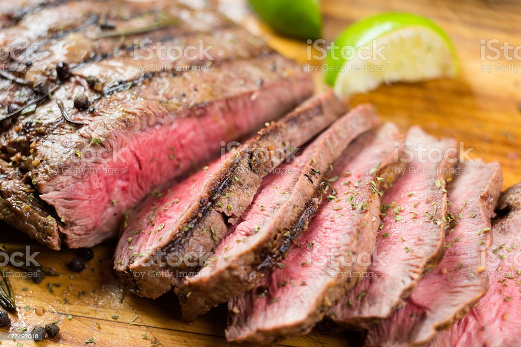 Grilled Juicy Flat Iron Steak stock photo