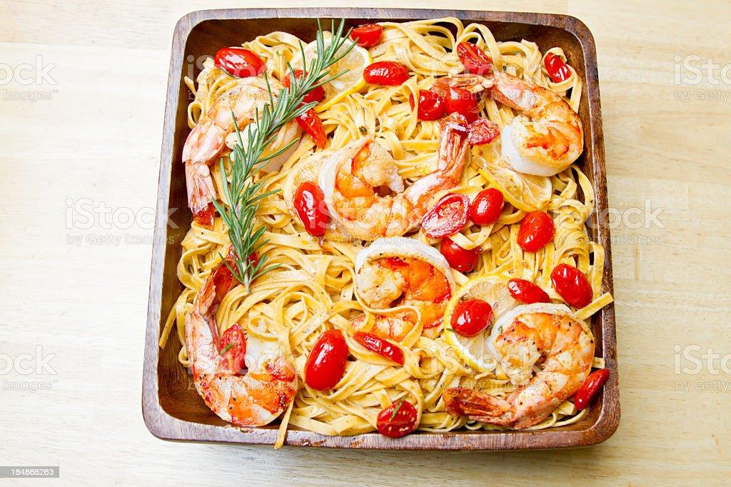 Grilled Jumbo Shrimp and Pasta stock photo