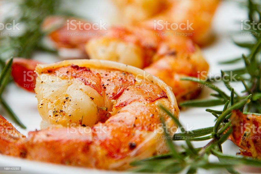 Grilled Jumbo Shrimp royalty-free stock photo