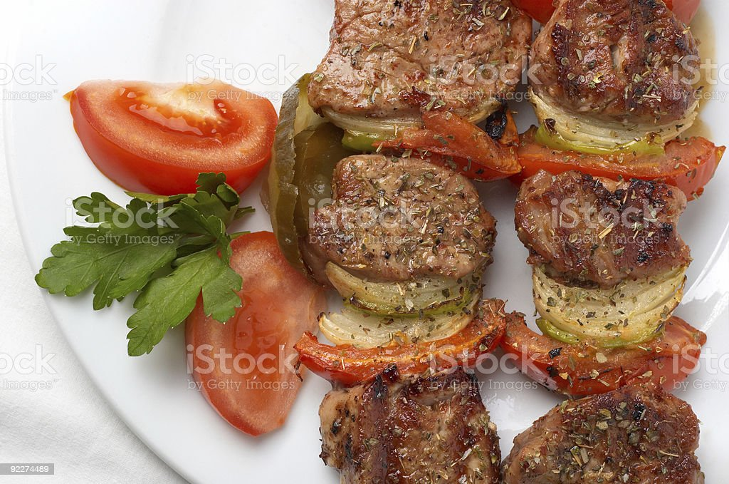 grilled kebab with vegetables royalty-free stock photo