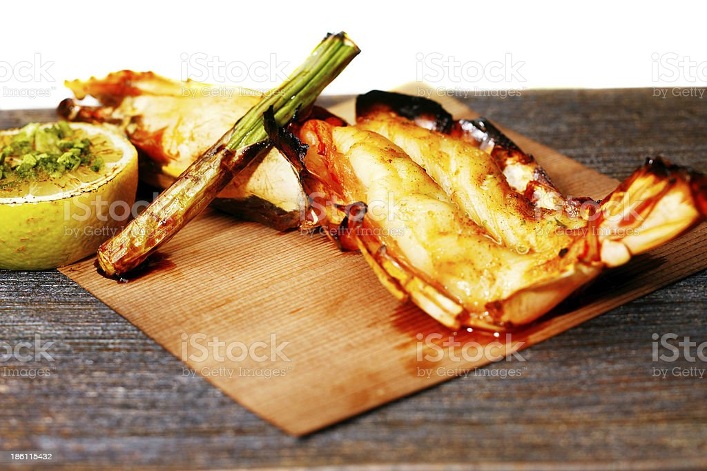 Grilled King Prawn Tikka with roasted asparagus royalty-free stock photo