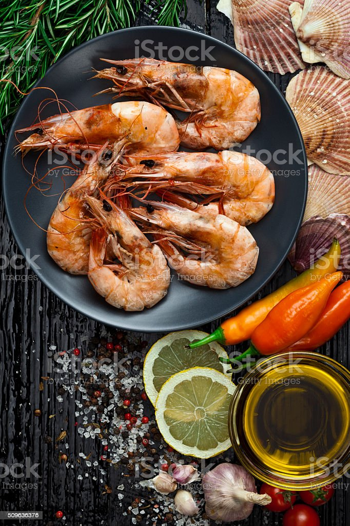 Grilled king prawns stock photo