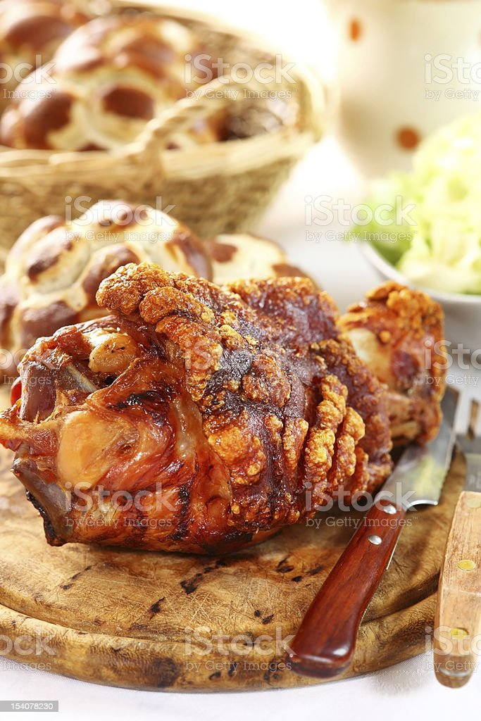 Grilled knuckle of pork royalty-free stock photo