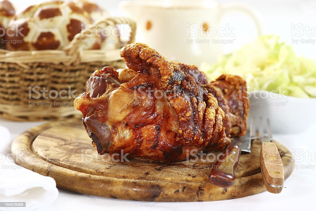 Grilled knuckle of pork stock photo