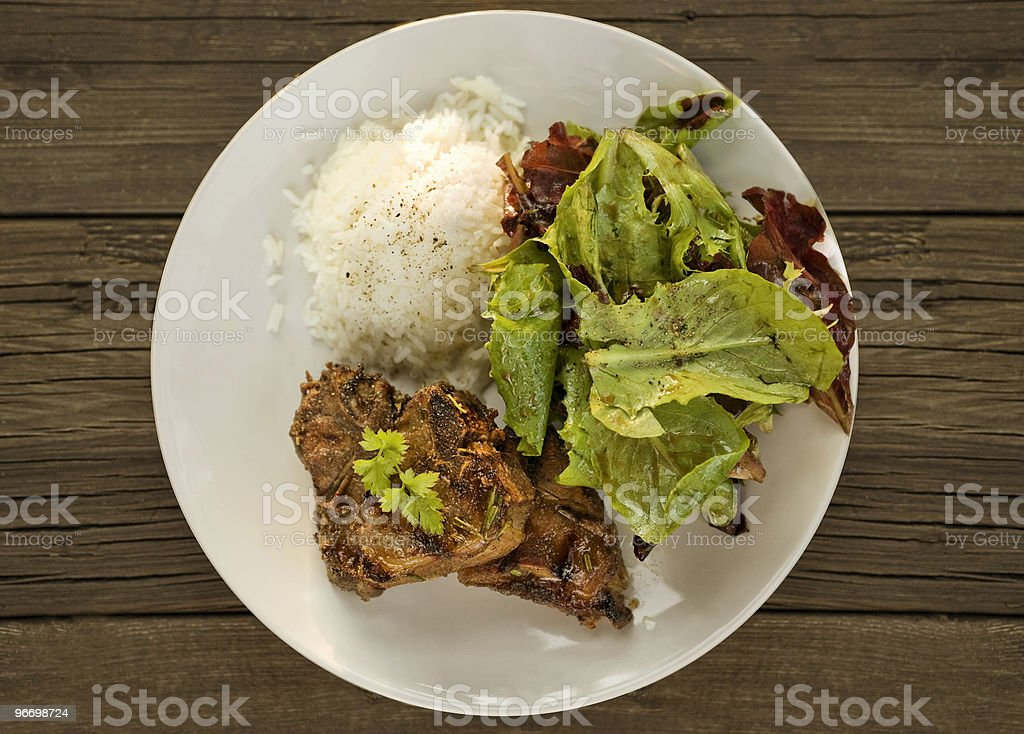 grilled lamb and salad royalty-free stock photo