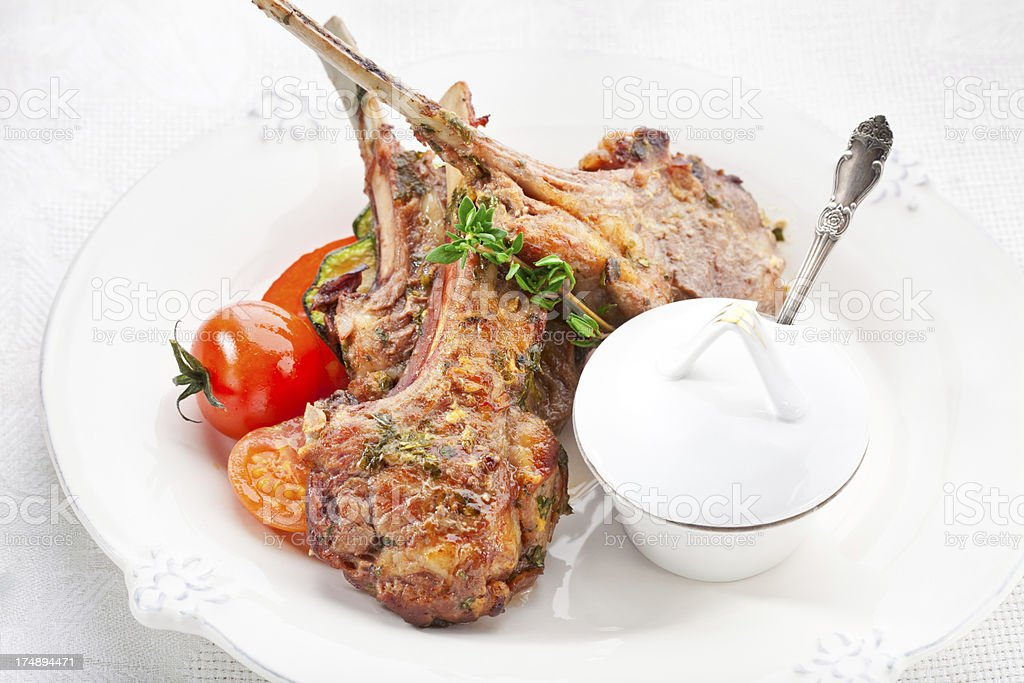 Grilled Lamb Chops royalty-free stock photo