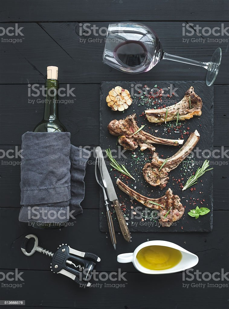 Grilled lamb chops. Rack of Lamb with garlic, rosemary, spices stock photo