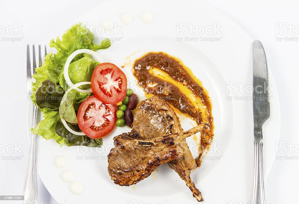 grilled lamb chops  with Vegetables royalty-free stock photo