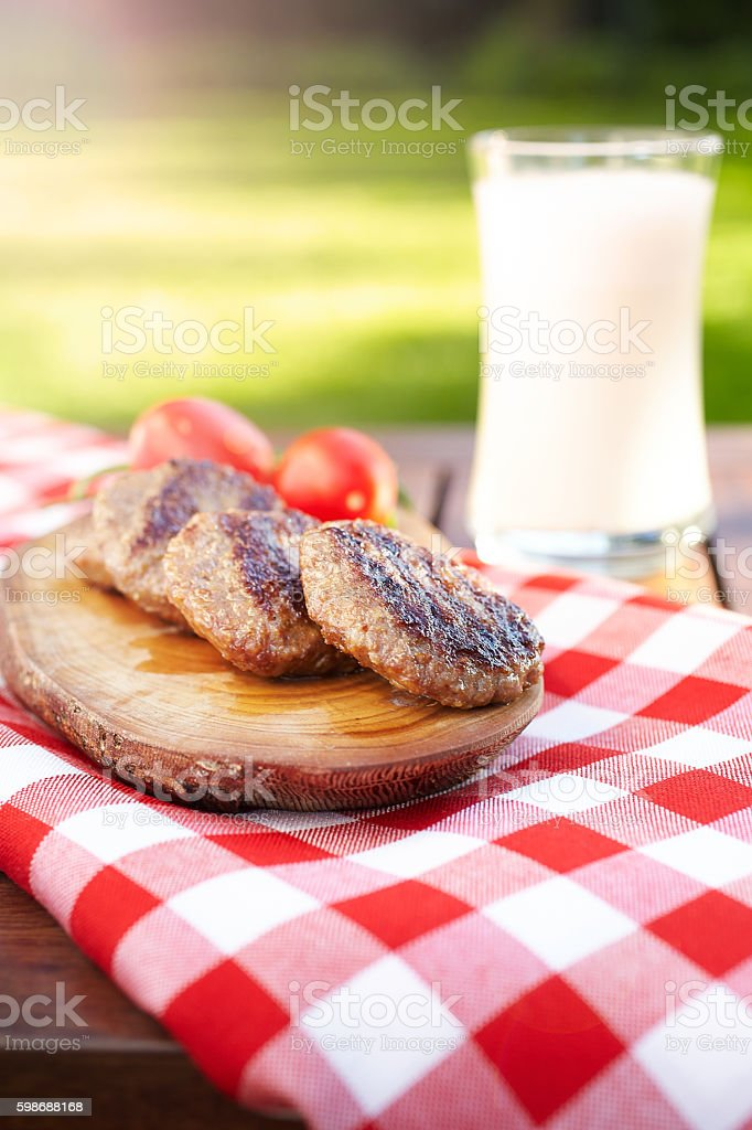 Grilled Lamb Meat Lunch In The Garden stock photo