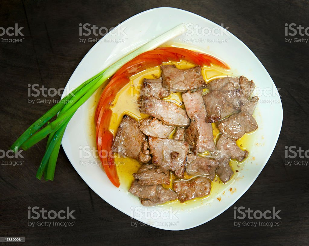 Grilled liver stock photo