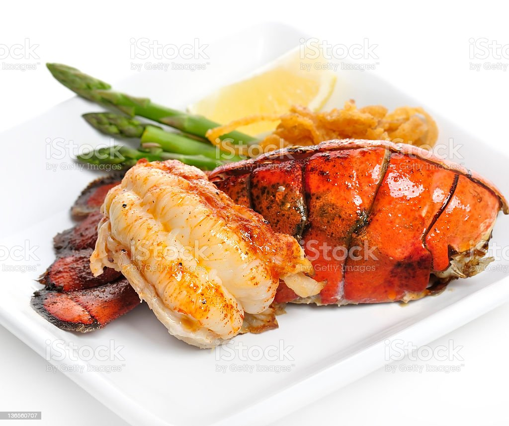 Grilled Lobster Tail stock photo