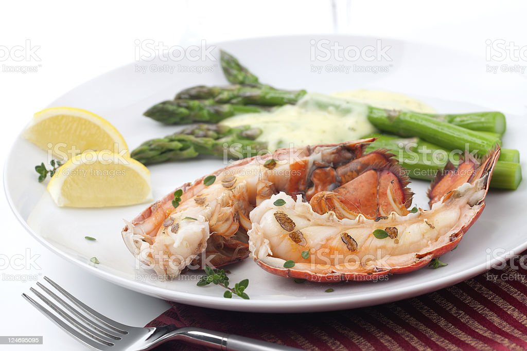 Grilled lobster tails stock photo