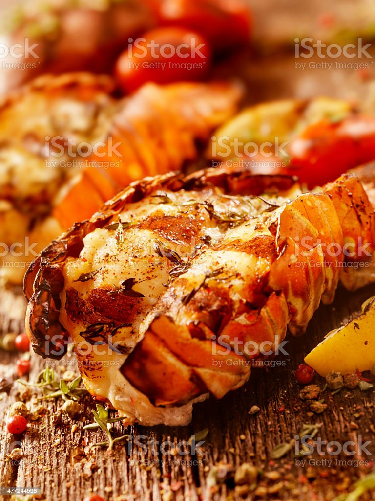 BBQ Grilled Lobster Tails stock photo