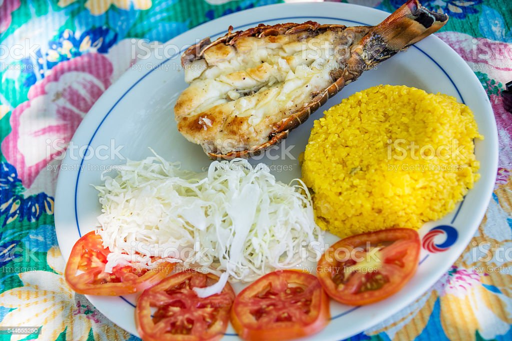 Grilled lobster with rice and salad in Cuba stock photo