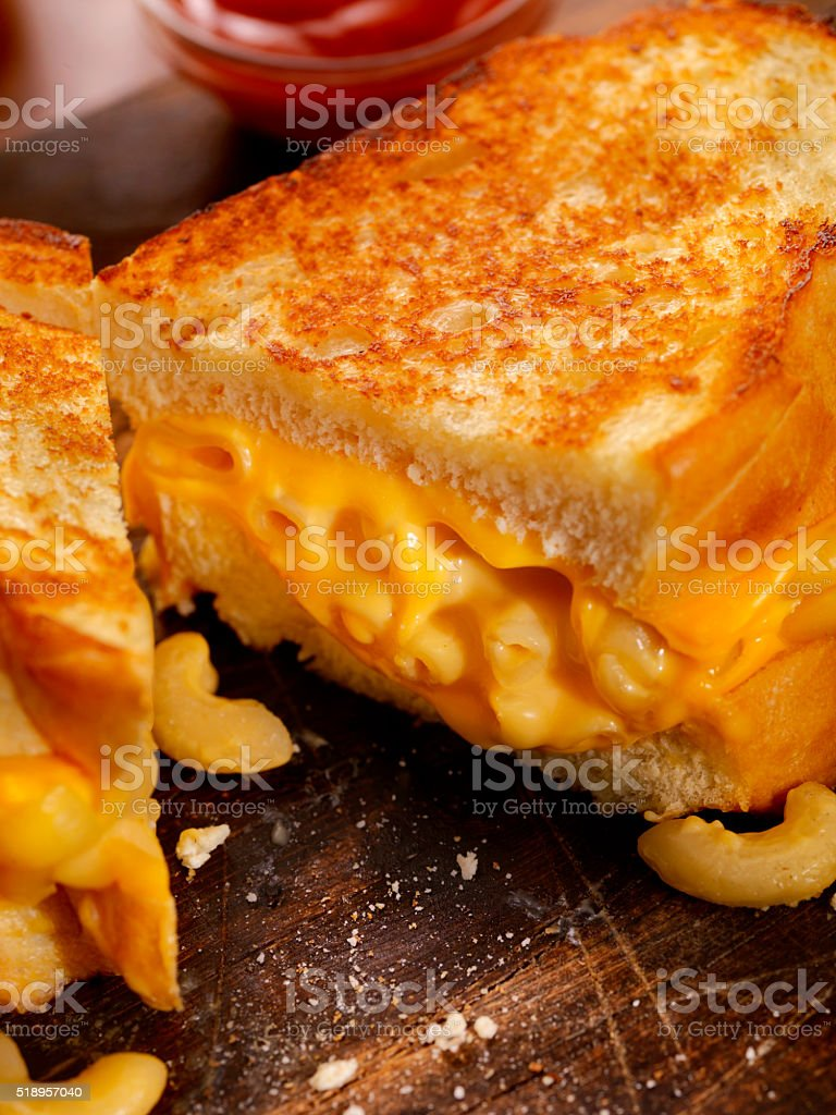 Grilled Macaroni and Cheese Sandwich stock photo