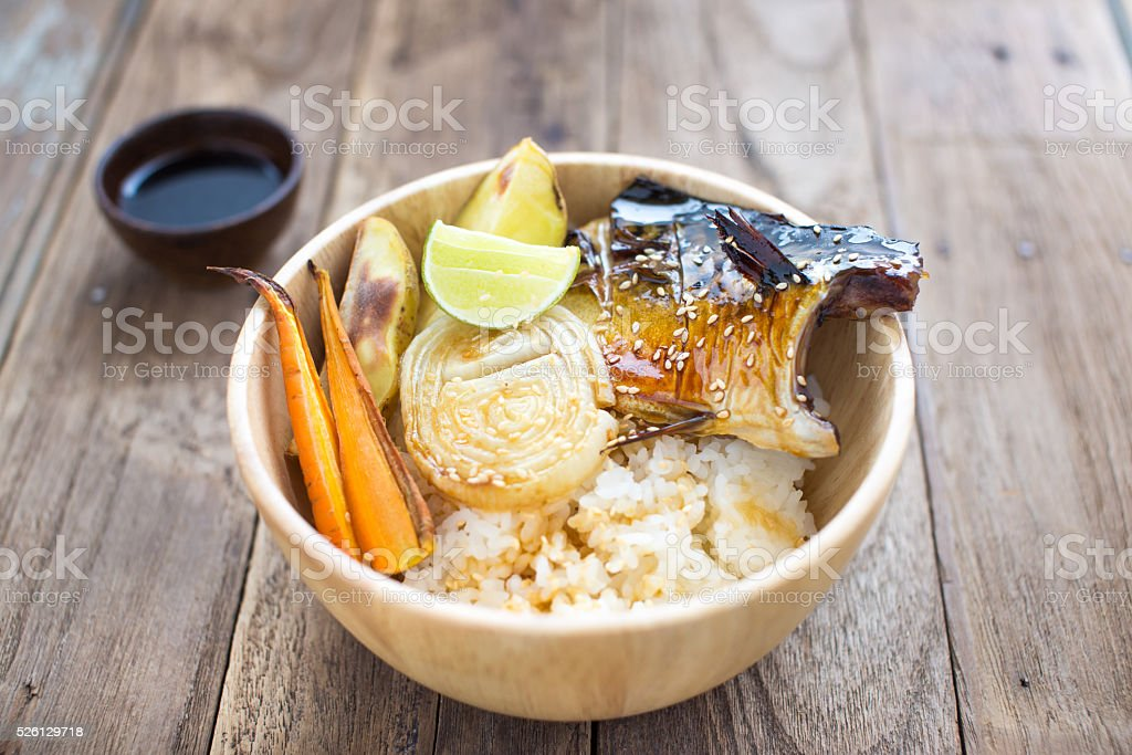Grilled Mackerel with rice stock photo