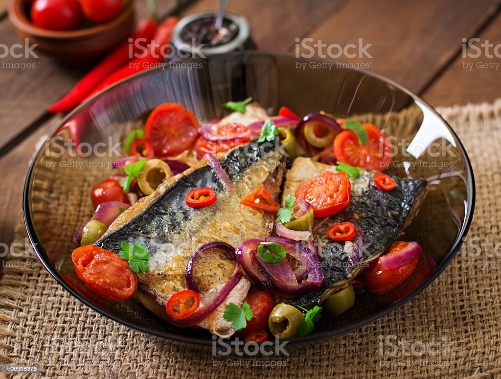 Grilled mackerel with vegetables in Mediterranean style stock photo