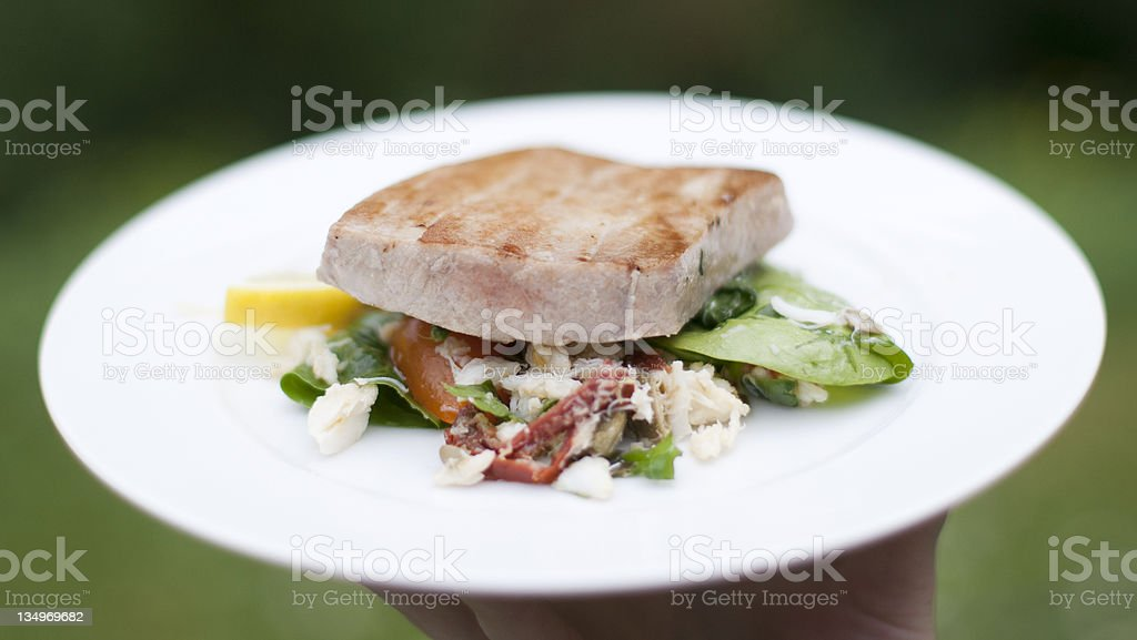 Grilled marinated Ahi tuna salad with crab royalty-free stock photo