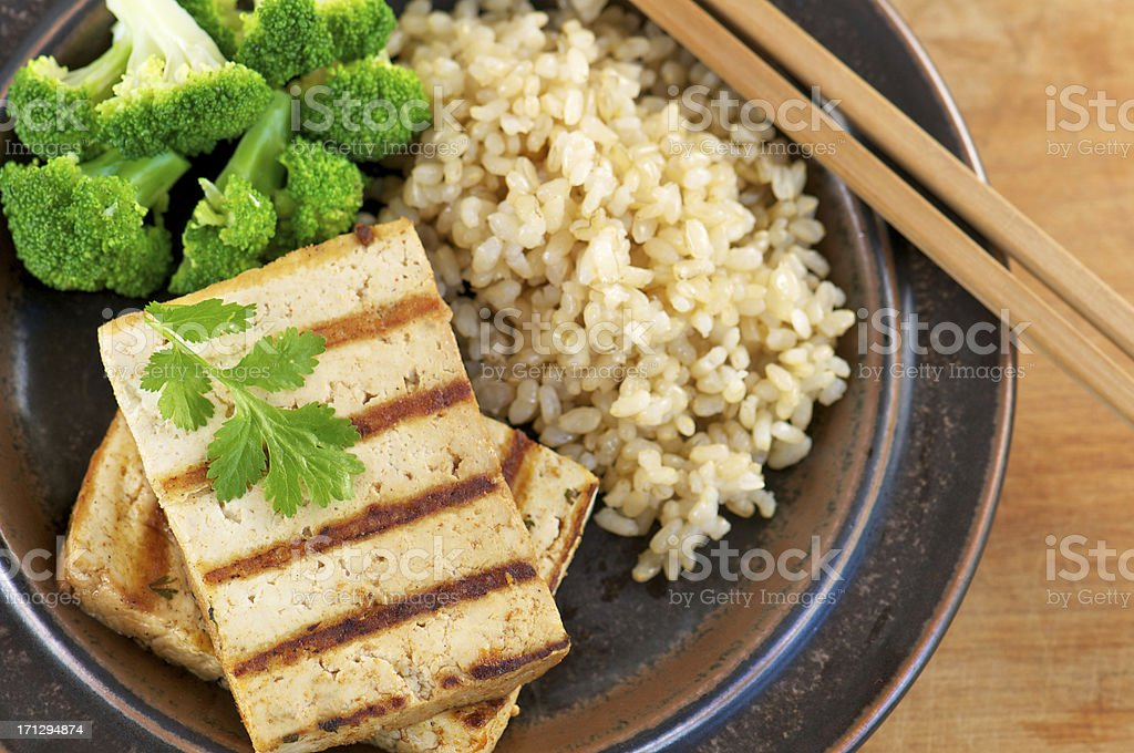 Grilled Marinated Tofu from Above royalty-free stock photo