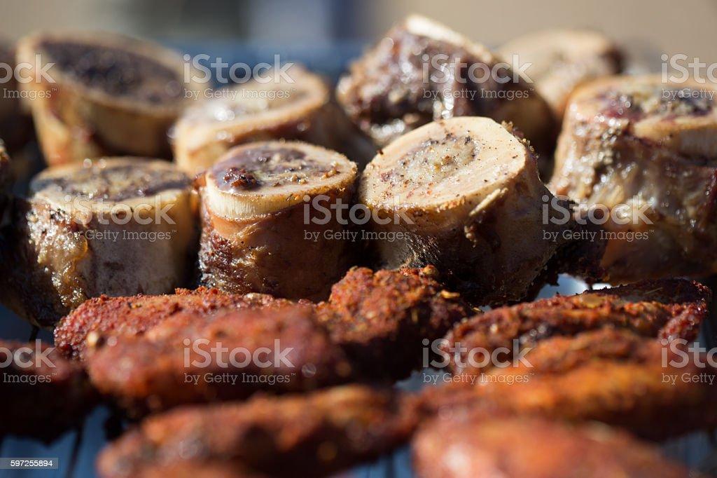 Grilled Marrow Bones stock photo