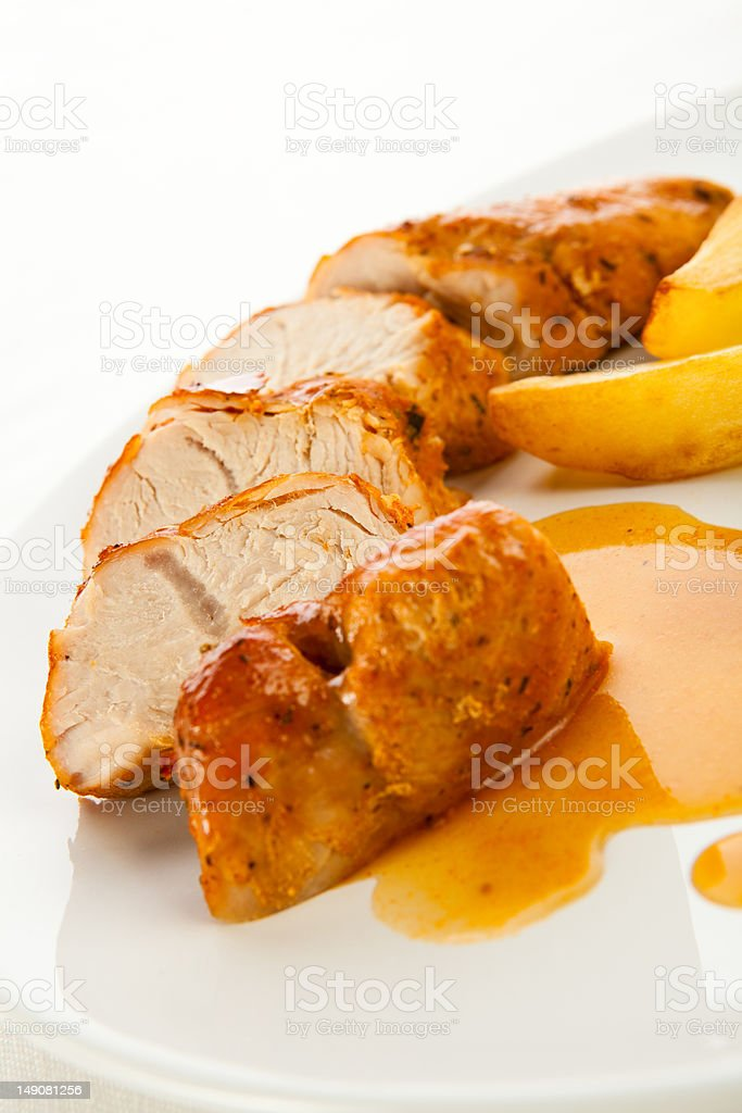 Grilled meat and potatoes royalty-free stock photo