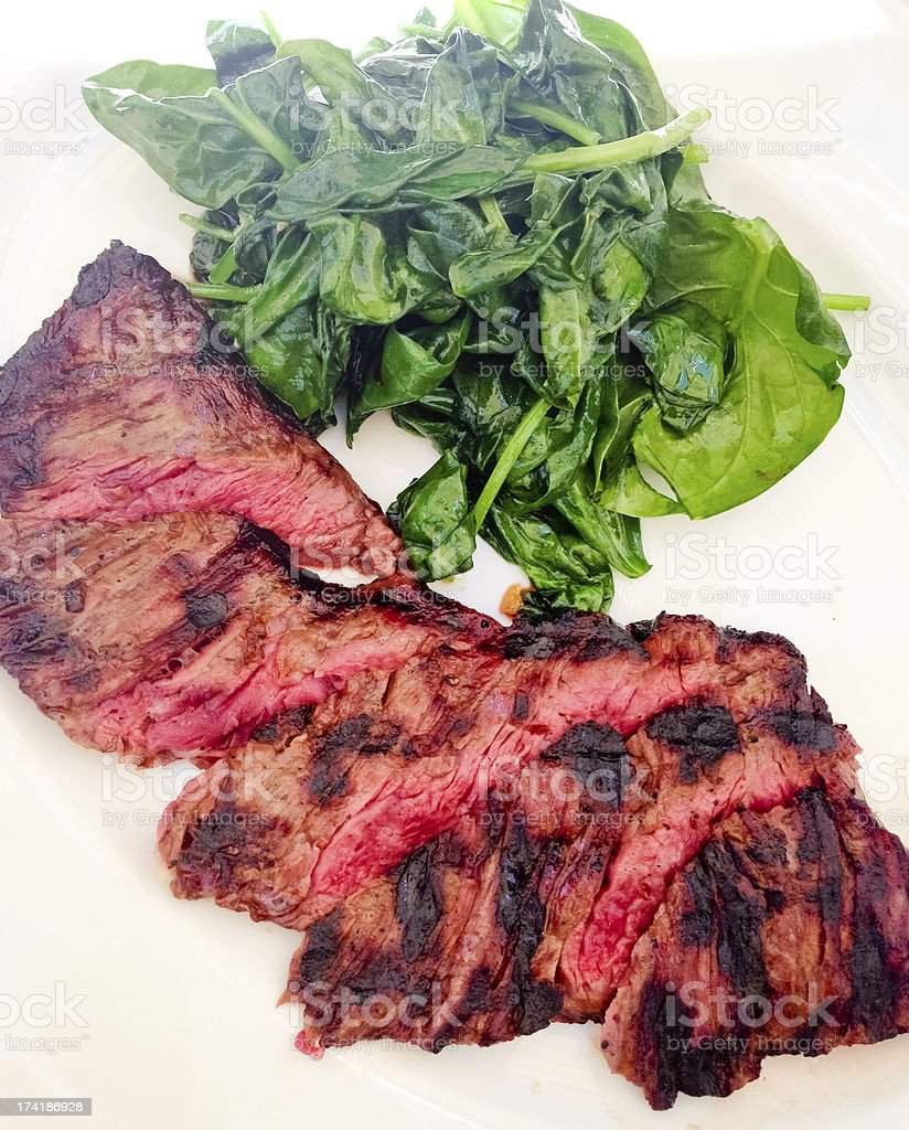 Grilled Meat and Spinach royalty-free stock photo