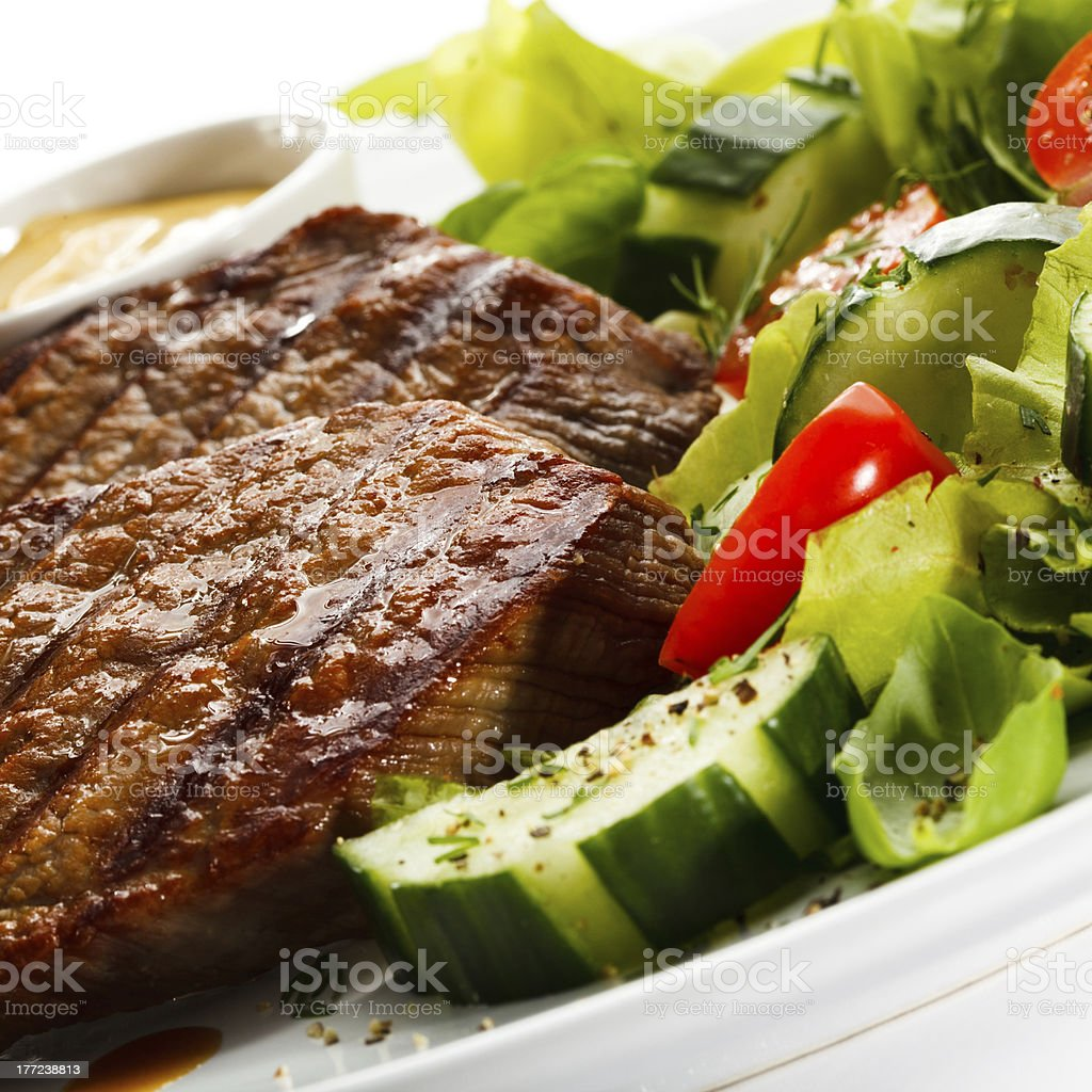 Grilled meat and vegetables royalty-free stock photo