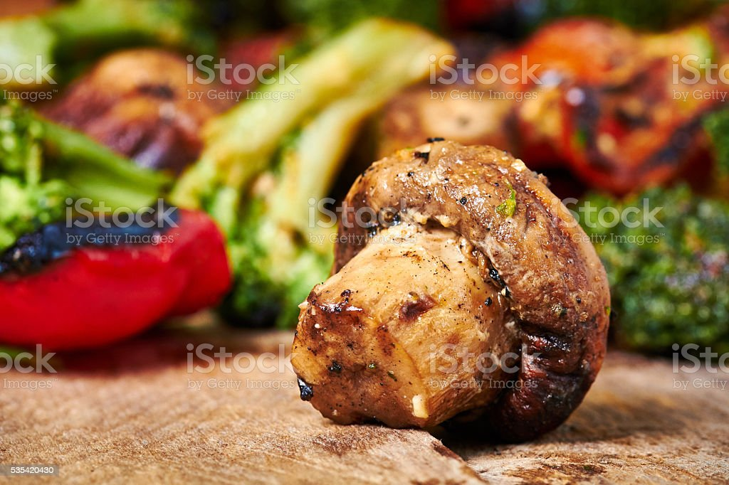 Grilled meat and vegetables stock photo