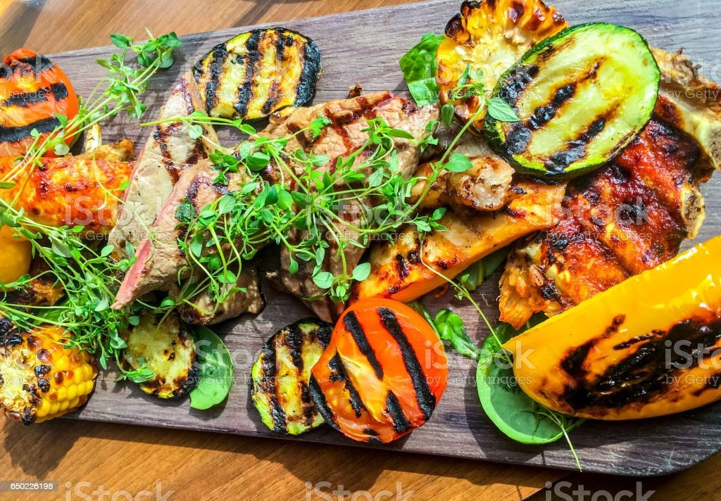 Grilled meat and vegetables, Sweden stock photo
