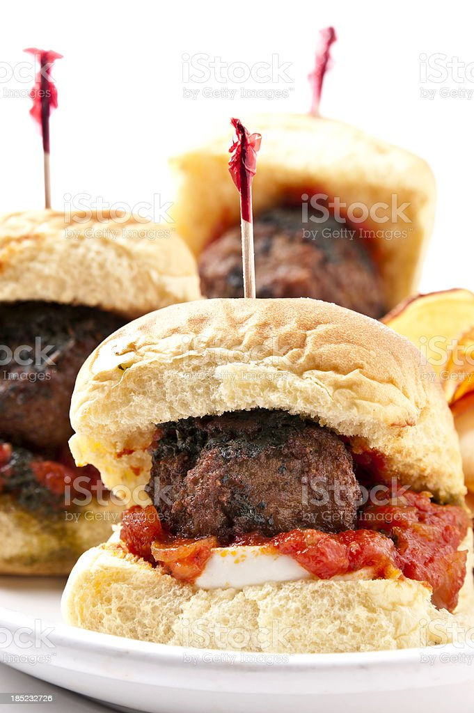 Grilled Meat Ball Mini burgers stock photo