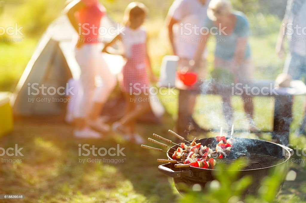 grilled meat on the grill stock photo