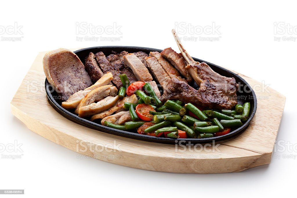 Grilled Meat Pan stock photo