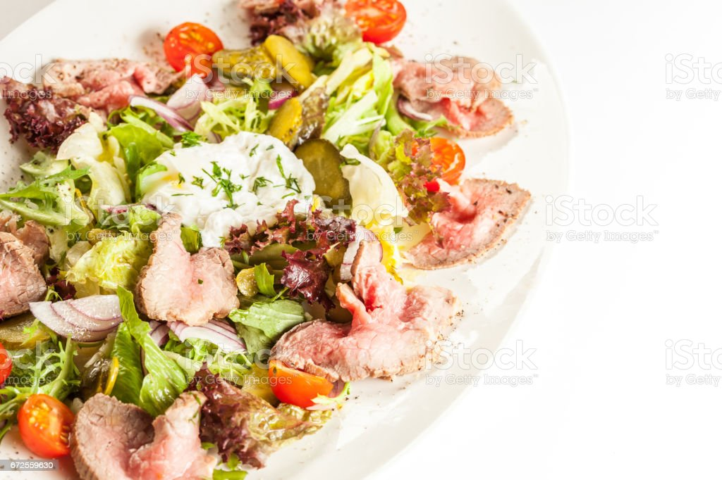Grilled meat salad stock photo