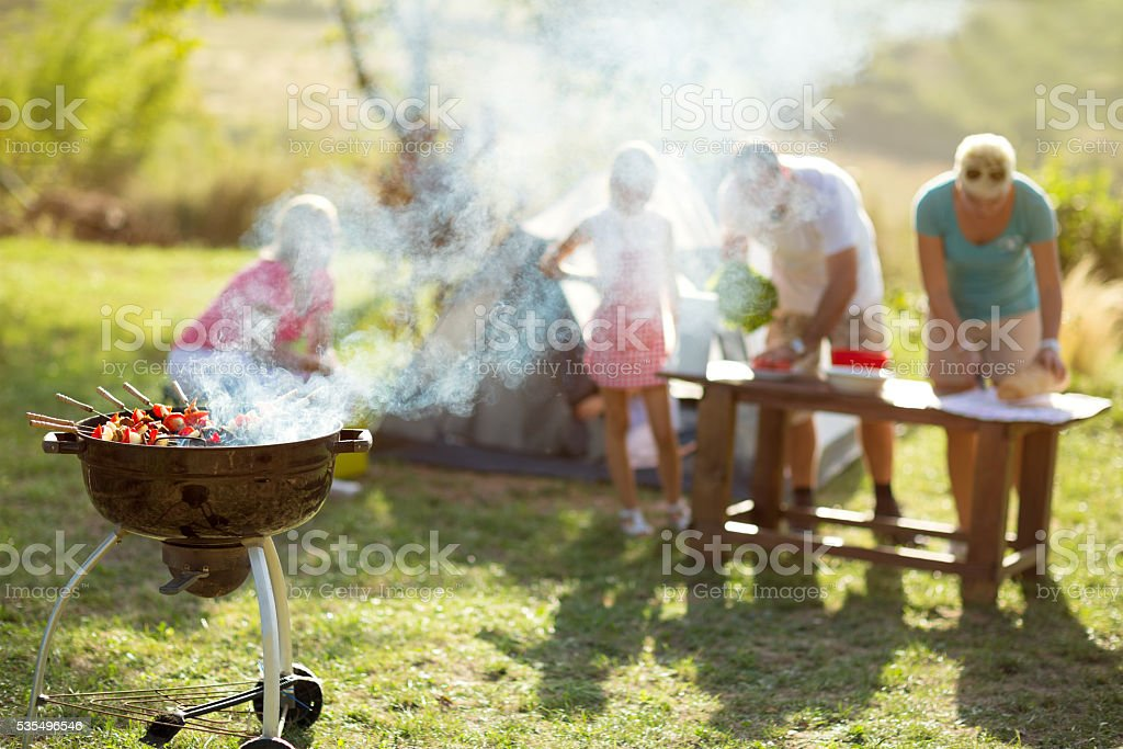 grilled meat skewers barbecue stock photo