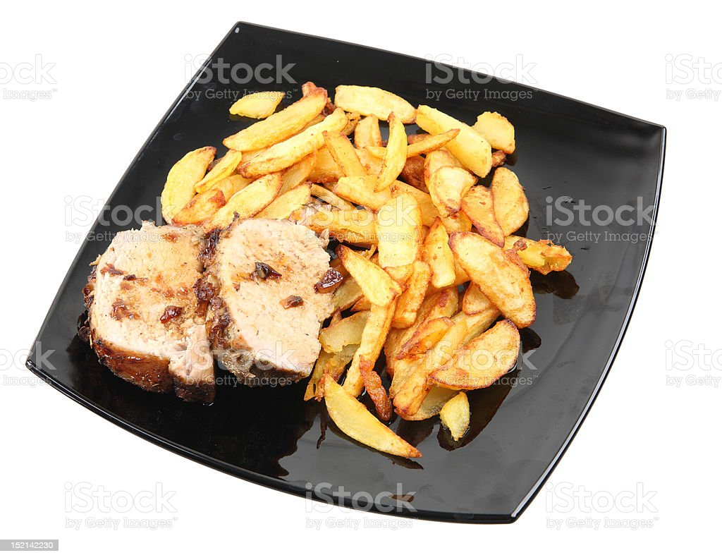 grilled meat with fries royalty-free stock photo