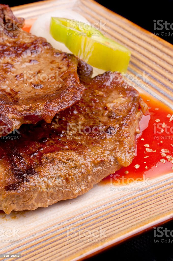 Grilled meat with mashed potato stock photo