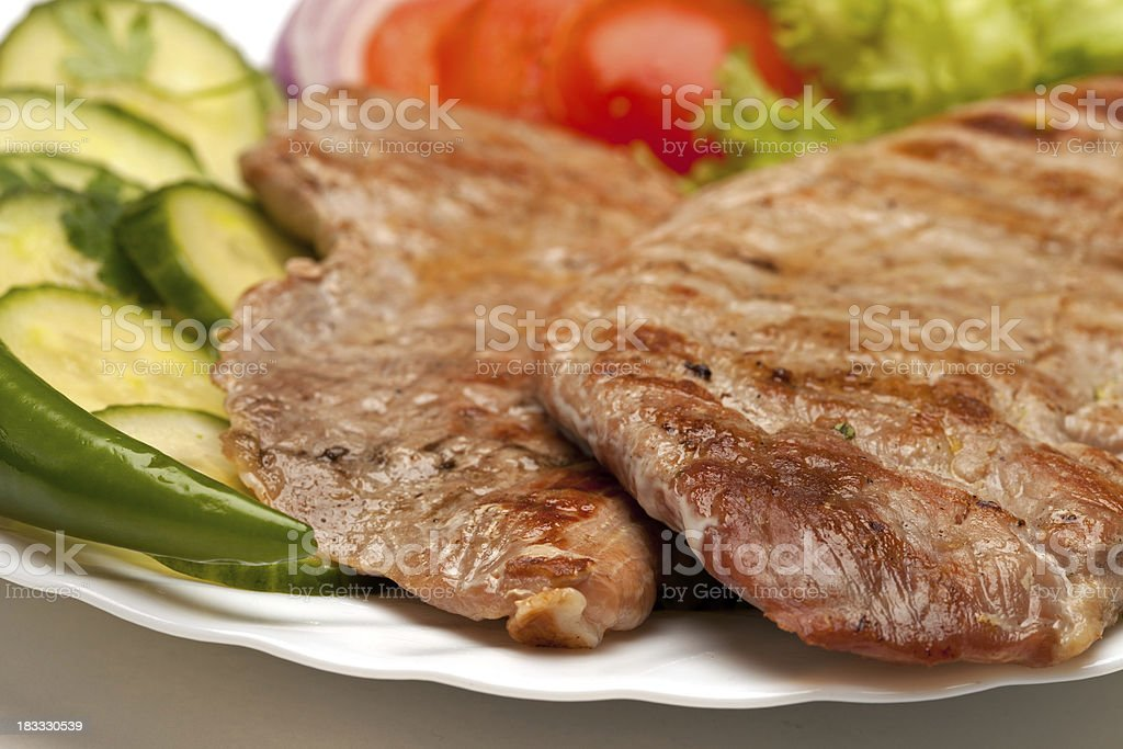 Grilled meat with vegetables royalty-free stock photo