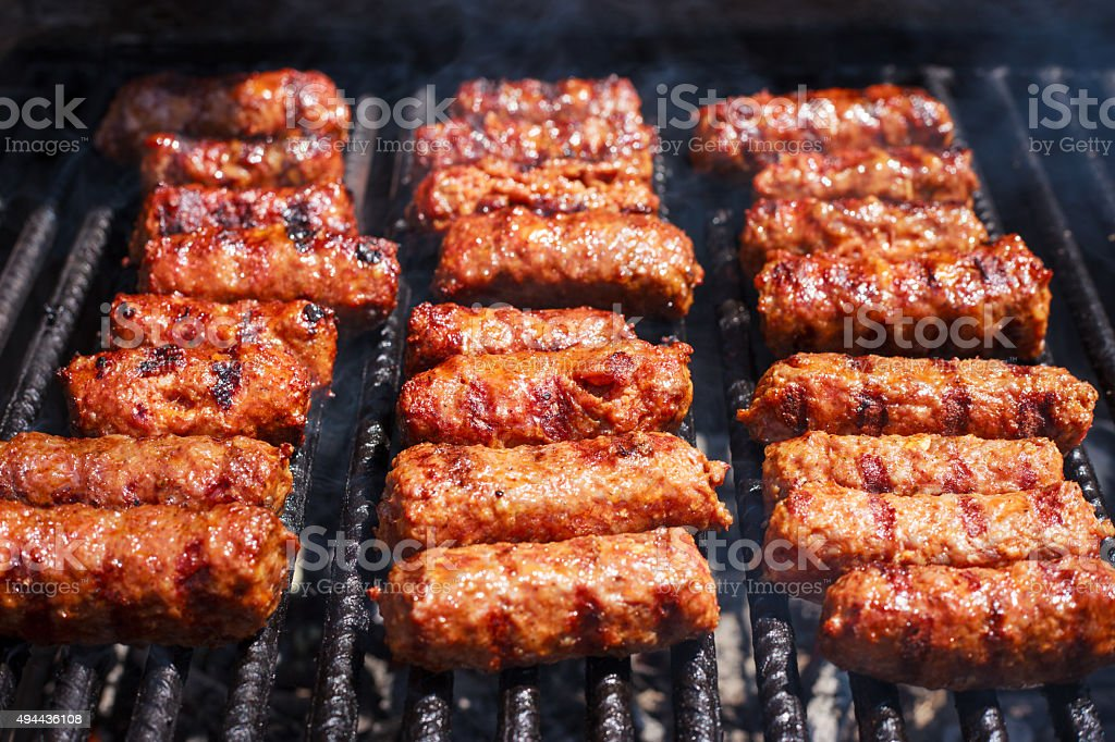 Grilled Mini Sausages stock photo