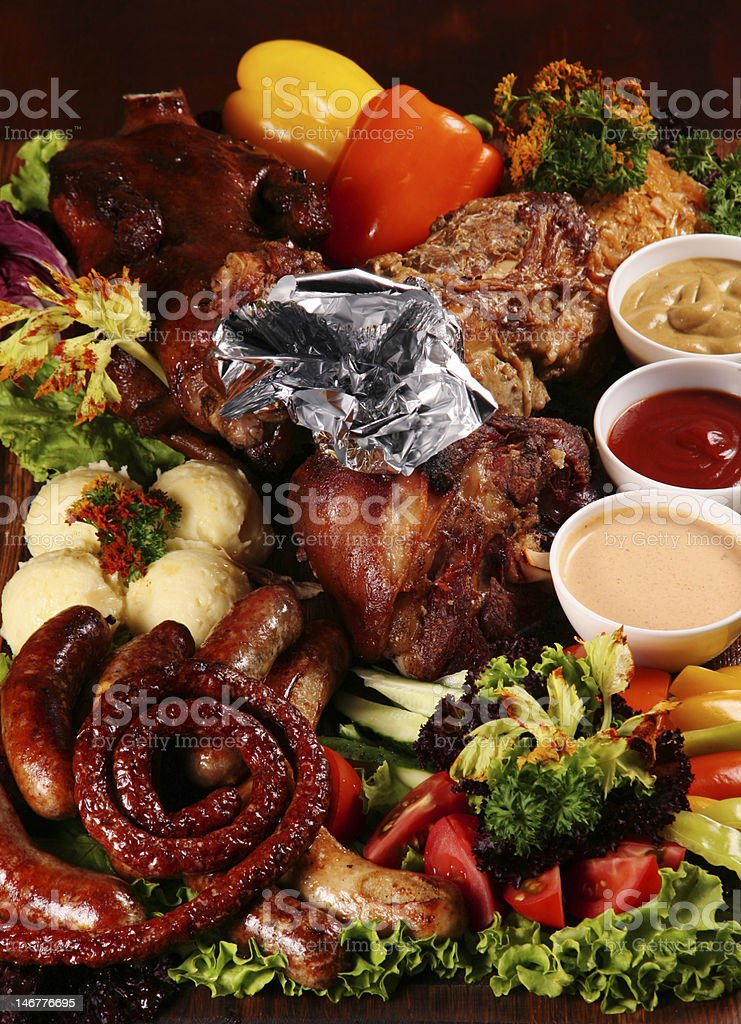 Grilled mix meat royalty-free stock photo