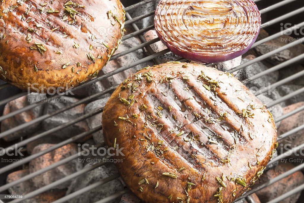 Grilled Mushrooms stock photo
