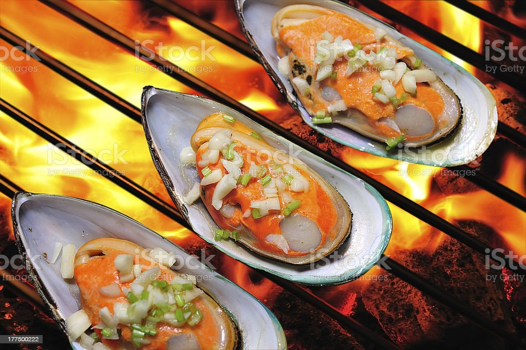 Grilled mussels royalty-free stock photo