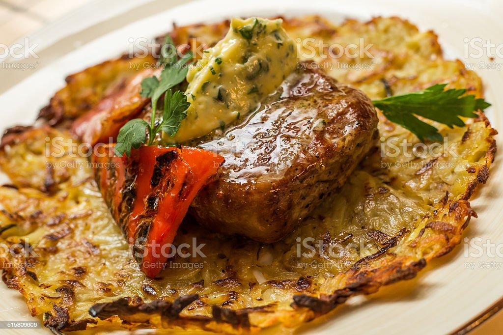 Grilled New York strip steak stock photo
