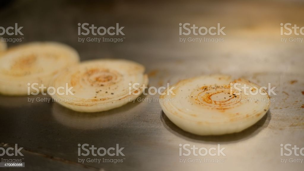Grilled onion stock photo