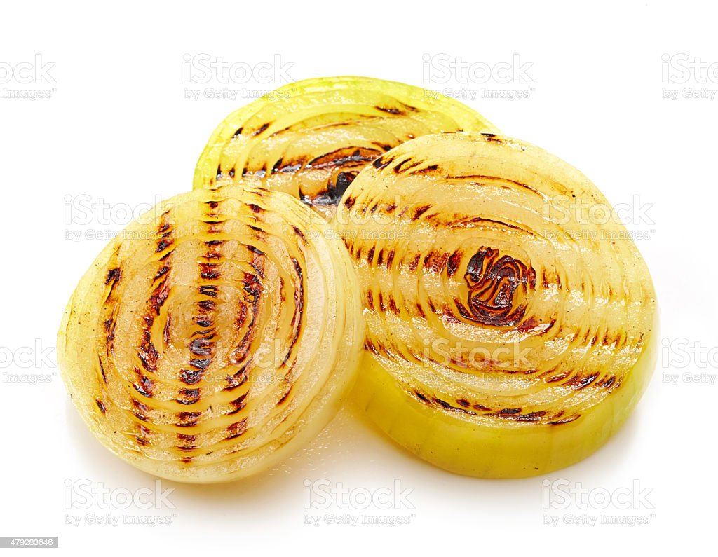 grilled onions stock photo