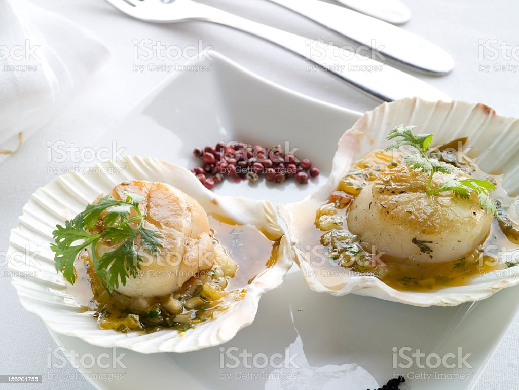 Grilled oyster with  coriander royalty-free stock photo