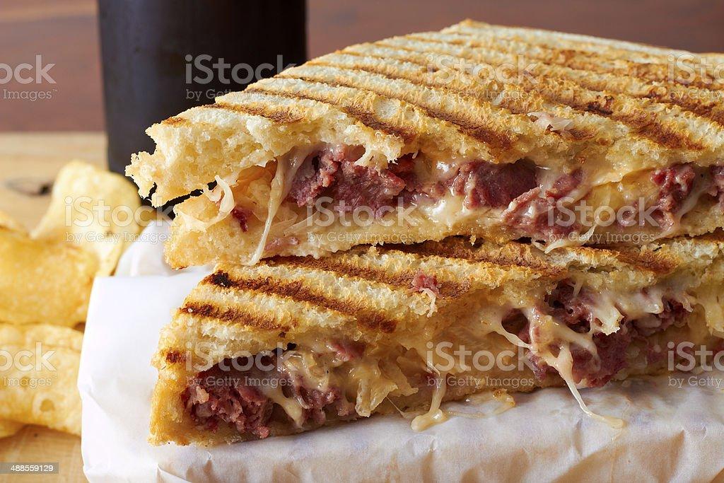 Grilled panini sandwich stock photo