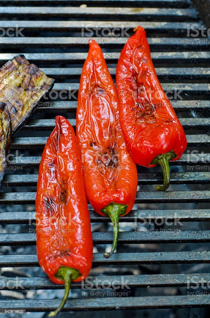 Grilled paprika pepper for a barbecue stock photo