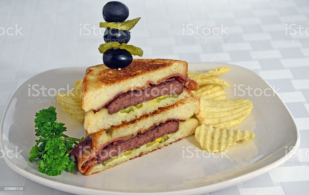 Grilled Patty Melt Sandwich royalty-free stock photo