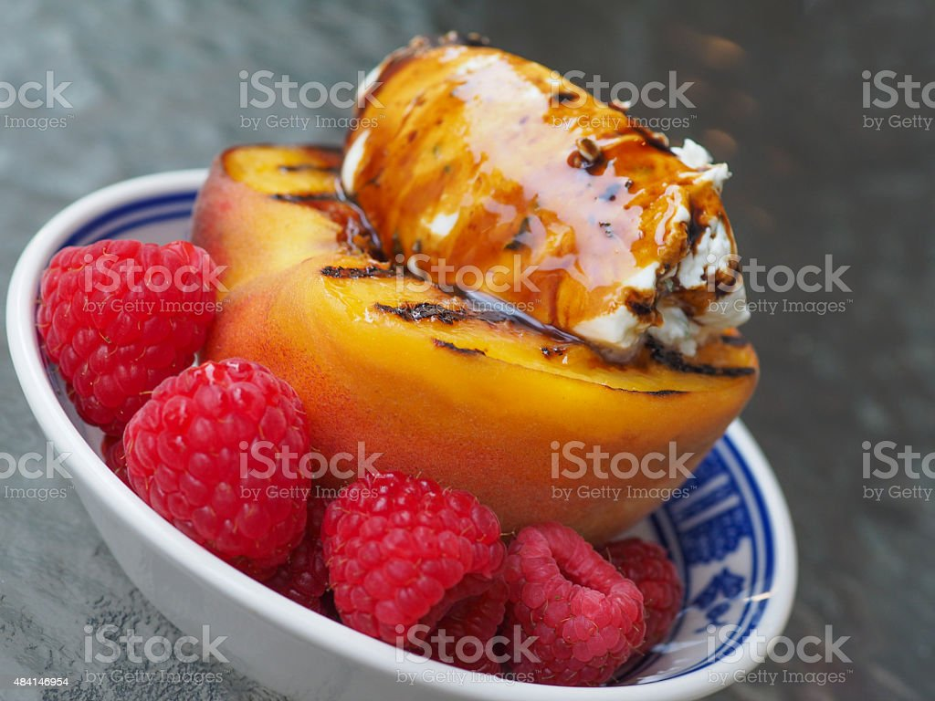 Grilled Peach stock photo
