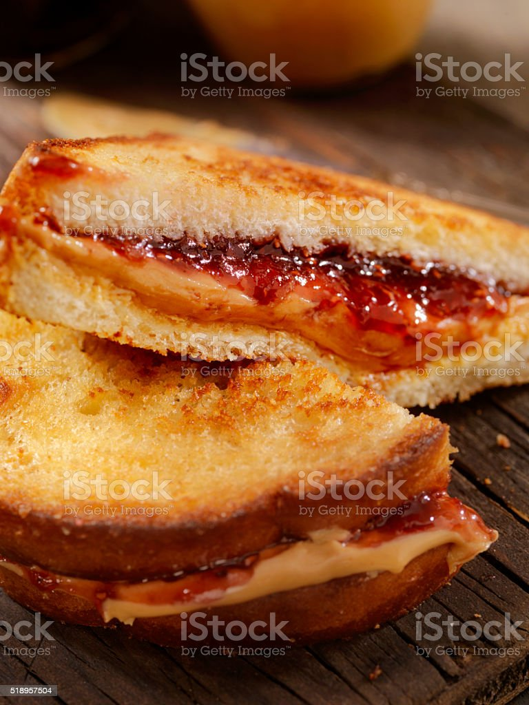 Grilled Peanut Butter and Jelly Sandwich stock photo